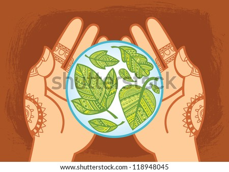 ... with green leaves inside. Decorative style. Vector illustration