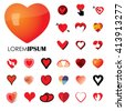 human heart and love vector logo icons ( signs ) or symbols.  - stock vector