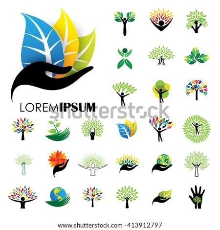 human life logo icons of abstract people tree vectors. this design also represents eco friendly green, embracing, hug, friendly, education, learning, green tech, growth, peace, balance