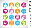 human resource and business management icon set - stock vector