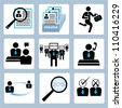 human resource and recruitment icon set - stock vector