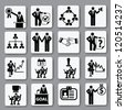 Human resource,business and management icon set,Vector - stock photo