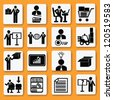Human resource,transport & business concept icon set,Vector - stock vector