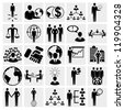 Human resources and management, business persons and users. Vector icons set. Social icons. - stock vector