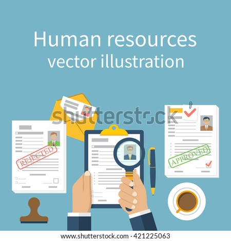 Human Resources Concept Businessman Employer Search Stock Vector ...