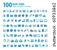 hundred blue icons - stock vector