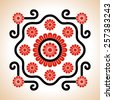 Hungarian red and black embroidery motives decoration with flowers and curly lines - stock vector