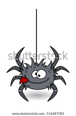 hungry funny spider - Halloween vector illustration
