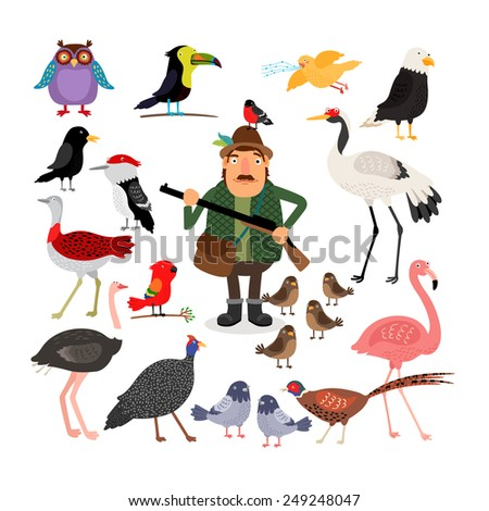 Hunter holding a shotgun. A variety of birds, flamingos, eagle, owl, sparrows and pigeons. Fowling. Vector illustration on white background