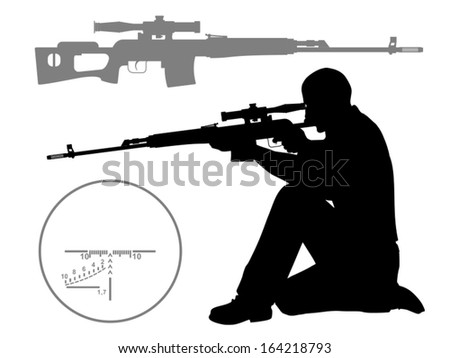Hunter. The man who shoots from a sniper rifle. Silhouette ...