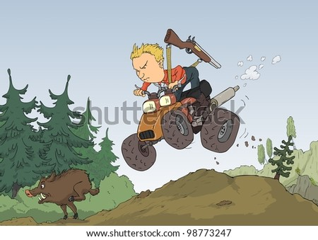 Hunter with a quad bike chasing wild boar