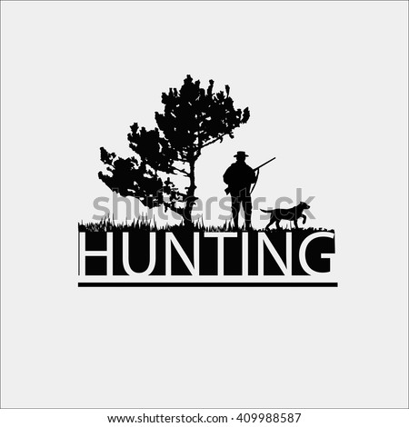 Hunting Logo Template. Silhouette of a hunter near a tree on a white background.