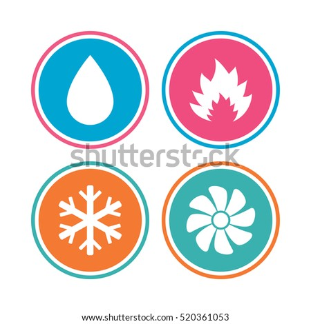Hvac Icons Heating Ventilating Air Conditioning Stock Vector ...