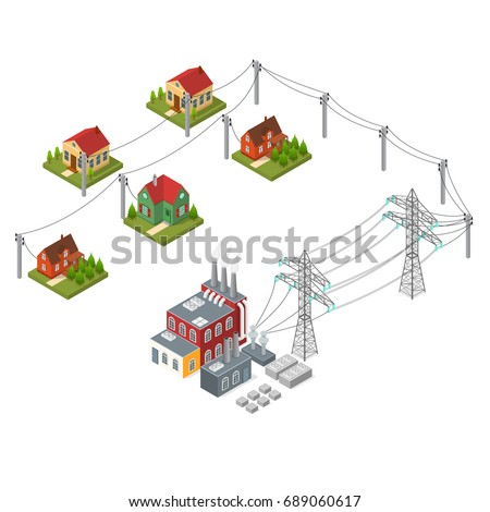 Stock Vector Hydroelectricity Power Station And Element Set Isometric View Alternative Energy Concept Dam On