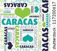 I love Caracas Venezuela seamless typography background pattern in vector - stock photo