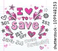 I Love to Save Sketchy Notebook Doodles Shopping Discount  Hand-Drawn Illustration Design Elements on Lined Sketchbook Paper Background - stock photo