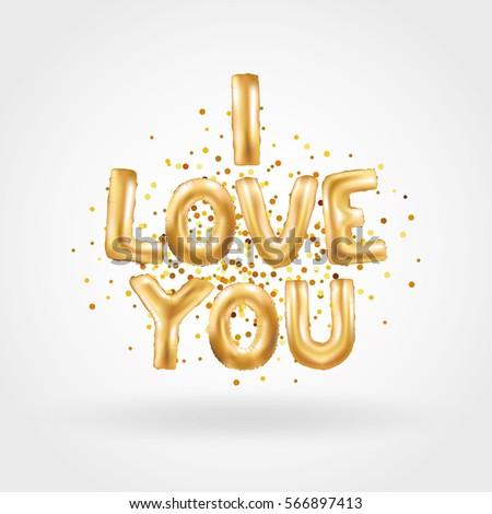 Gold letter boy balloons birthday gold stock vector for I love you letter balloons