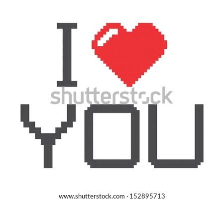 love my pc heart pixel style stock vector 242410648 shutterstock. Black Bedroom Furniture Sets. Home Design Ideas