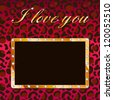 I love you vector card with glamour leopard background and gold frame with diamonds, cam be used for Valentines day card, events invitation, wallpaper - stock vector