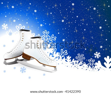 Ice skates winter background design