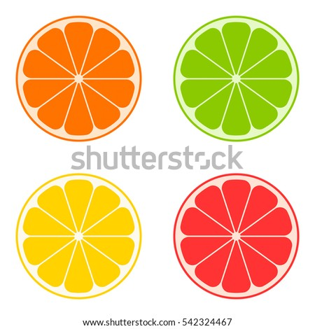 Icon citrus: orange, lime, lemon, grapefruit. Vector illustration. The fruit is cut in half.