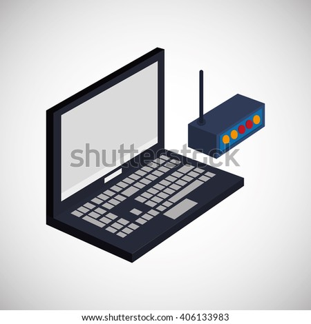 Icon of isometric laptop design, vector illustration
