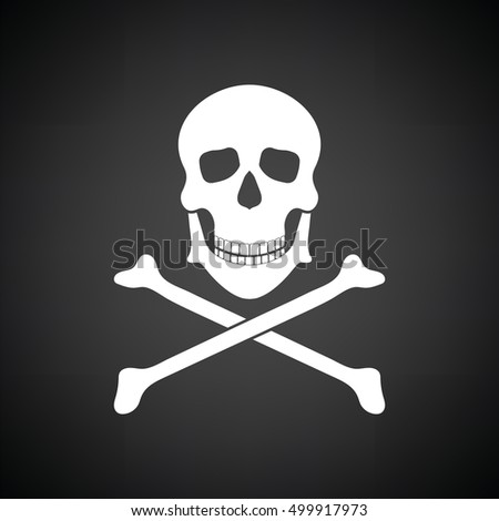 Icon of poison from skill and bones. Black background with white. Vector illustration.