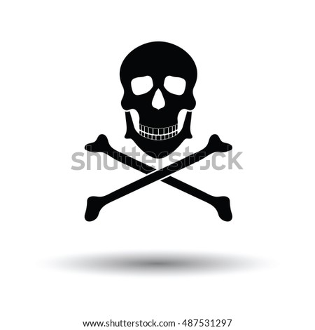 Icon of poison from skill and bones. White background with shadow design. Vector illustration.