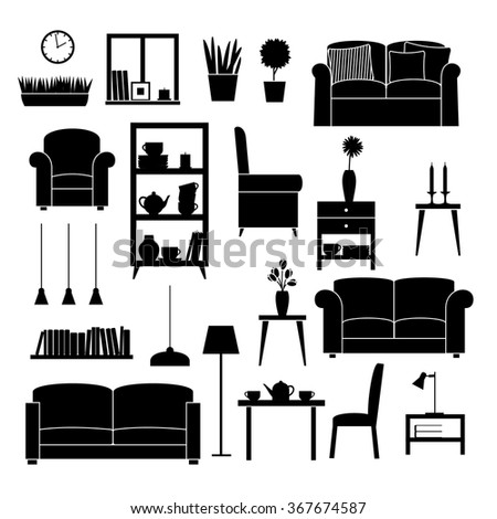 living room furniture clipart. icon set of furniture for living room clipart