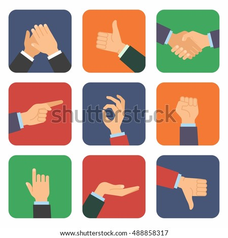 Icon set of hands in different positions