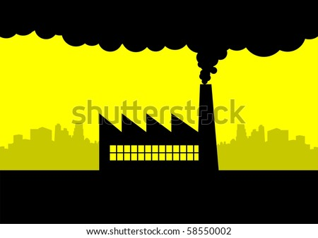 Iconic illustration of a factory and city skyline
