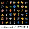 Icons for entertainment, leisure, sport and travel. Black background. Vector illustration. - stock photo