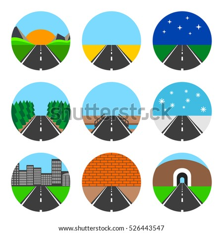Icons of road landscapes. Set on a white background.