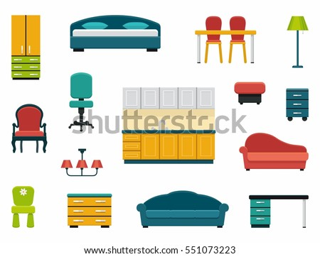 kinds of furniture. icons of various kinds furniture for home and office b