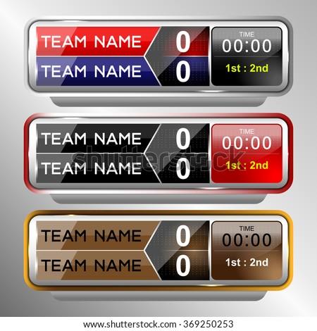 Scoreboard Elements Sport Soccer Football Vector Stock Vector ...