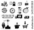 Icons set with reflection: Logistics - stock vector