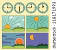 Icons with landscapes showing day cycle and clock showing the time of the day - morning, noon, afternoon, evening - stock photo