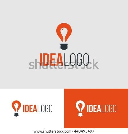 idea logo design with idea bulb orange color