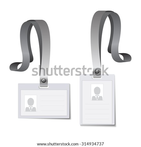 Identification white blank plastic id cards, Vector illustration.