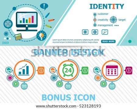 Identity concepts and abstract cover header background for website design. Horizontal advertising business banner layout template