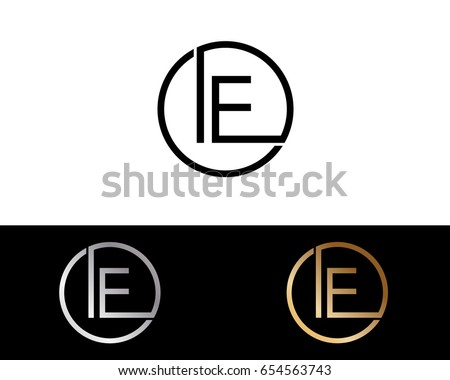 Stock Vector Ie Logo Letter Design With Red And Black Gold Silver Colors Initial Monogram Ft