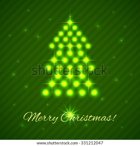 Illuminated Christmas Tree with lettering Merry Christmas. Vector background for holiday greetings, cards
