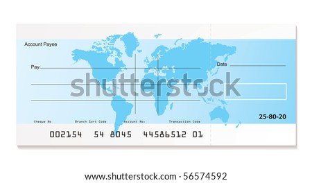 Illustrated Bank Check World Map Sample Stock Illustration ...