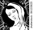 illustrated beautiful lady - vector illustration - stock vector