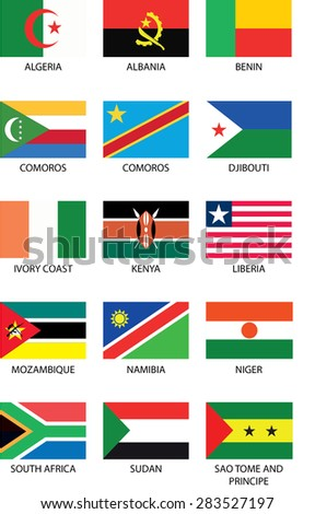 Illustrated Flags from the continent of Africa