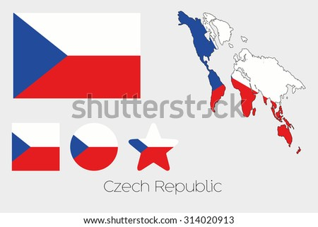 Illustrated Multiple Shapes Set with the Flag of Czech Republic