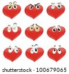 Illustrated set of heart characters - stock vector