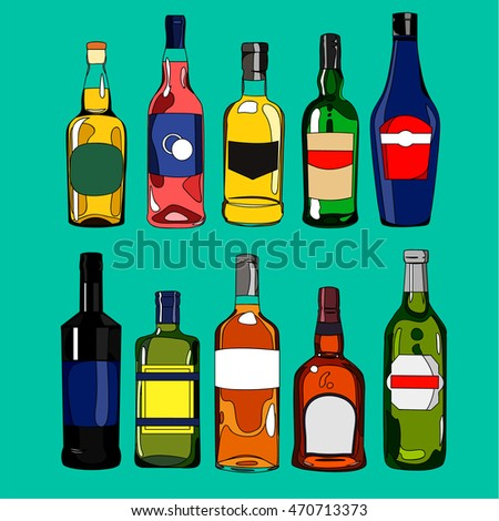 Illustration big set cartoon colorful hand drawn bottles with various alcoholic beverages and different design, bar restaurant poster menu, isolated on green background, vector eps 10