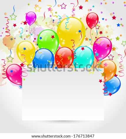 Illustration birthday card with multicolored balloons and confetti - vector