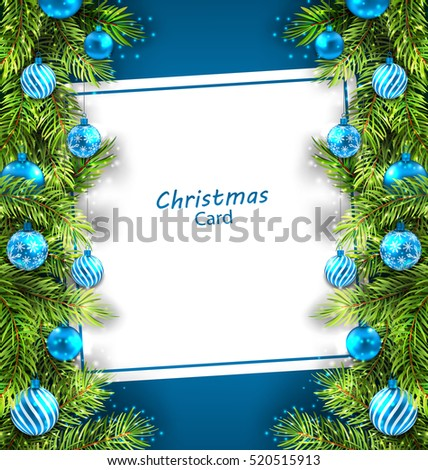 Illustration Christmas Card with Fir Twigs and Glass Balls, Holiday Blue Background - Vector